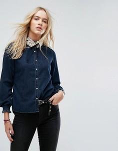 Джинсовая рубашка с оборкой Maison Scotch - Темно-синий