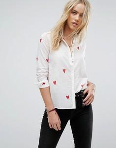 Рубашка с принтом сердечек Maison Scotch - Белый