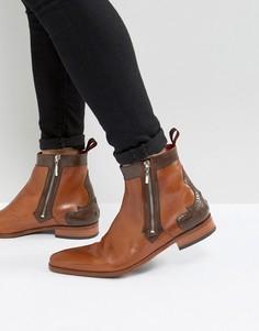 Светло-коричневые кожаные ботинки броги с молниями Jeffery West Scarface - Рыжий