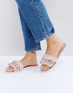 Розоватые сандалии из искусственной замши с отделкой Dune Laria - Розовый