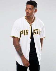 Белая трикотажная рубашка с бейсбольным воротником Majestic MLB Pittsburgh Pirates - Белый