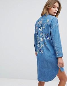 Джинсовое платье-рубашка с вышивкой New Look - Синий