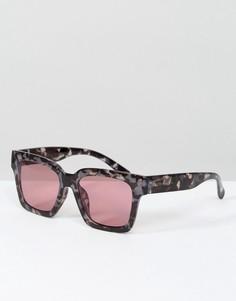 Квадратные солнцезащитные очки в черепаховой оправе с розовыми стеклами South Beach - Мульти