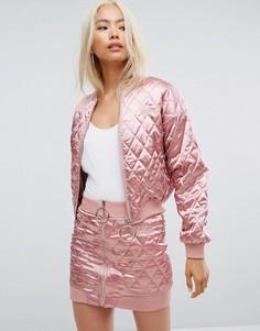 Стеганый бомбер Missguided Barbie - Розовый