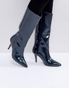 Высокие кожаные лакированные сапоги ASOS CABANA - Серый