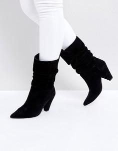 Замшевые полусапожки на каблуке ASOS CIANNA - Черный