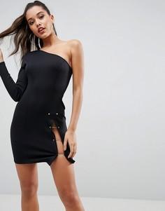 Платье мини на одно плечо с разрезом до бедра и золотистой отделкой ASOS - Черный
