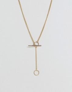 Ожерелье-цепочка с подвеской-тогл ASOS - Золотой
