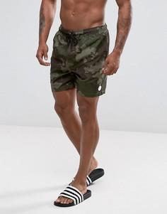 Камуфляжные шорты для плавания Threadbare - Зеленый