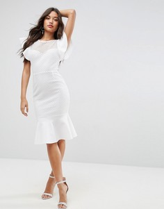 Платье миди из ткани Airtex с открытой спиной и оборками ASOS - Белый