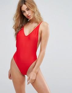 Слитный купальник с открытой спиной South Beach - Красный