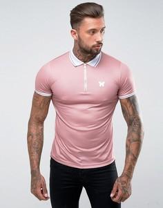 Розовая футболка-поло на молнии Good For Nothing - Розовый