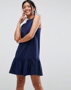 Свободное платье мини без рукавов с оборкой по краю ASOS - Темно-синий