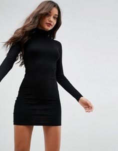 Облегающее платье мини в рубчик с воротником поло ASOS - Черный