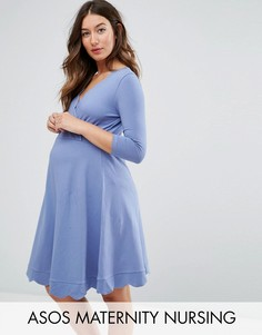 Короткое приталенное платье для беременных с запахом ASOS Maternity - Синий