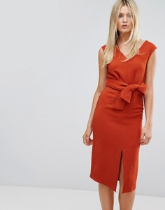 Платье миди с поясом Closet - Оранжевый