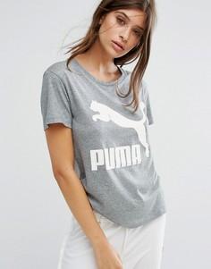 Серая футболка бойфренда с логотипом Puma Archive - Серый