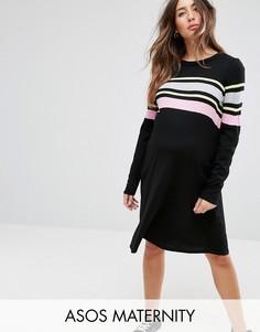 Свободное трикотажное платье с полосками ASOS MATERNITY - Мульти