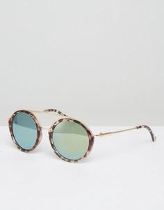 Солнцезащитные очки в круглой черепаховой оправе 7X - Коричневый