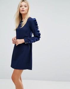 Платье с длинными рукавами и оборками Closet - Темно-синий
