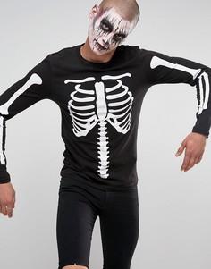 Обтягивающий лонгслив с принтом грудной клетки ASOS Halloween - Черный