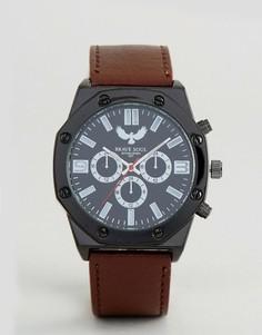 Шестиугольные часы с дополнительными циферблатами Brave Soul - Коричневый