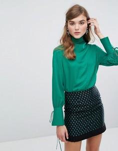 Атласная блузка в горошек с драпировкой Sister Jane - Зеленый