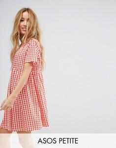 Свободное платье мини в клетку ASOS PETITE - Красный