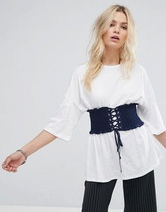 Свободная футболка с поясом-корсетом Glamorous - Белый