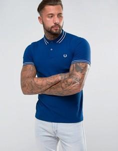 Синяя футболка-поло с контрастной отделкой Fred Perry - Синий