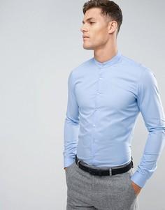 Супероблегающая строгая рубашка с воротником на пуговице Calvin Klein - Синий