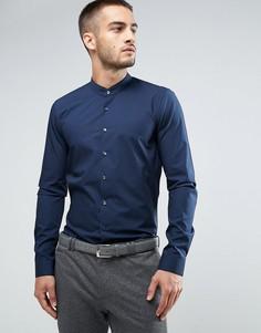 Супероблегающая строгая рубашка с воротником на пуговице Calvin Klein - Темно-синий