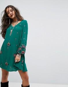 Платье мини с вышивкой Free People - Зеленый