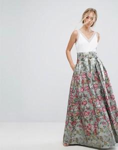 Платье макси с жаккардовой юбкой и бантом Ted Baker - Мульти