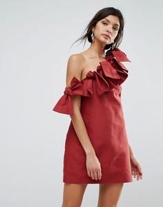 Платье на одно плечо C/Meo Collective - Красный