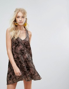 Платье мини с принтом Free People Ellie - Фиолетовый