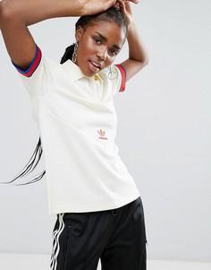 Облегающая футболка-поло с декоративной отделкой adidas Originals - Кремовый