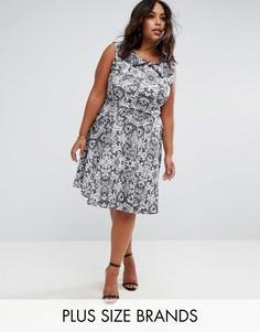 Короткое приталенное платье с кружевным принтом Praslin - Черный