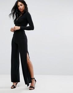 Широкие брюки с разрезами по бокам Club L - Черный
