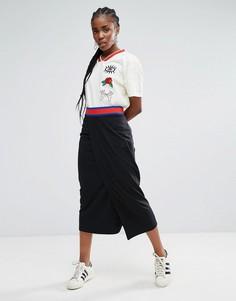 Юбка макси с запахом adidas Originals - Серый