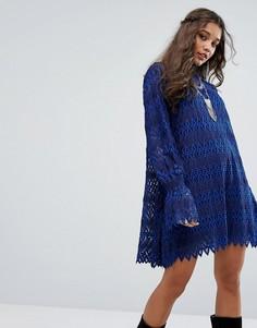 Платье мини с зигзагообразным узором Free People Simone - Синий