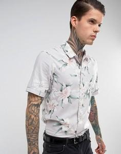 Рубашка классического кроя с короткими рукавами и цветочным принтом AllSaints - Серый