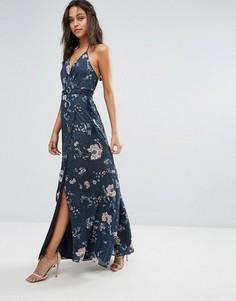 Платье макси с цветочным принтом The Jetset Diaries - Темно-синий