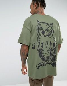 Oversize-футболка с принтом на спине HNR LDN - Зеленый Honour