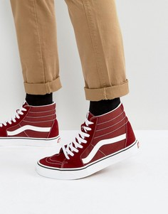 Красные высокие парусиновые кеды Vans Sk8-Hi VA38GEOVK - Красный