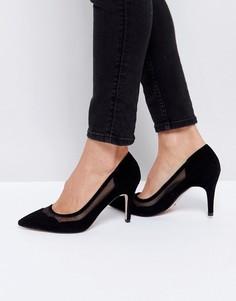 Замшевые туфли на каблуке с фигурной отделкой Dune - Черный