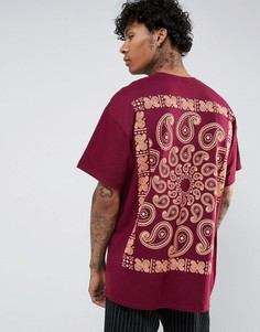 Оверсайз-футболка с принтом пейсли на спине HNR LDN - Красный Honour