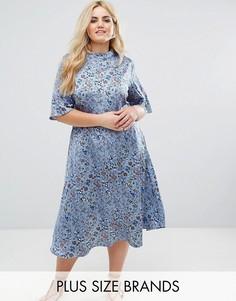 Платье миди с винтажным принтом и высоким воротником Alice & You - Синий