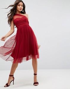 Платье миди для выпускного на одно плечо из сетки добби ASOS - Красный