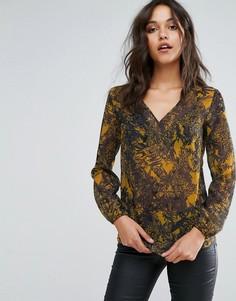 Полупрозрачная блузка с V-образным вырезом и принтом Sisley - Мульти